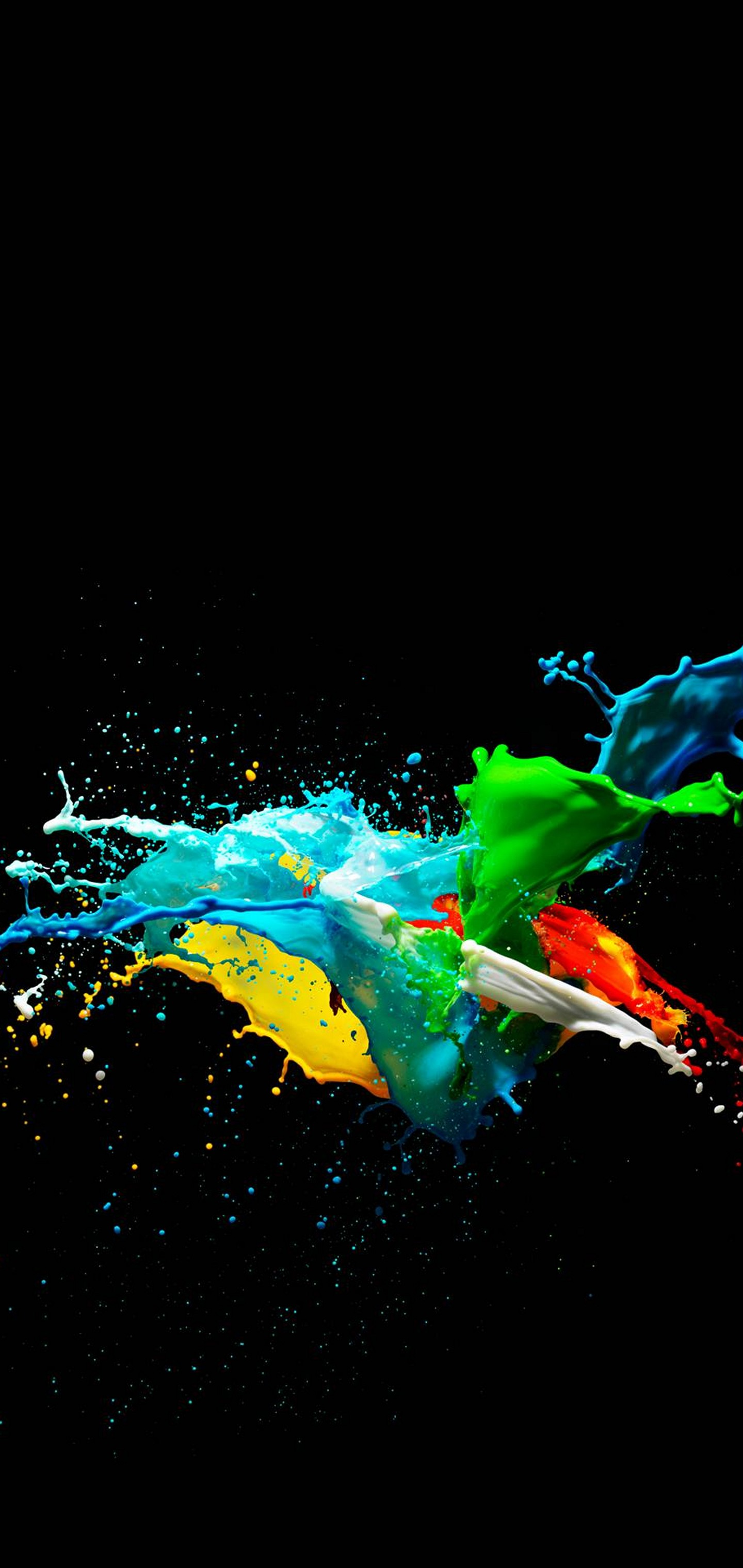 Colorful Painted Black Wallpaper - Mi A3 Wallpaper Dark - HD Wallpaper