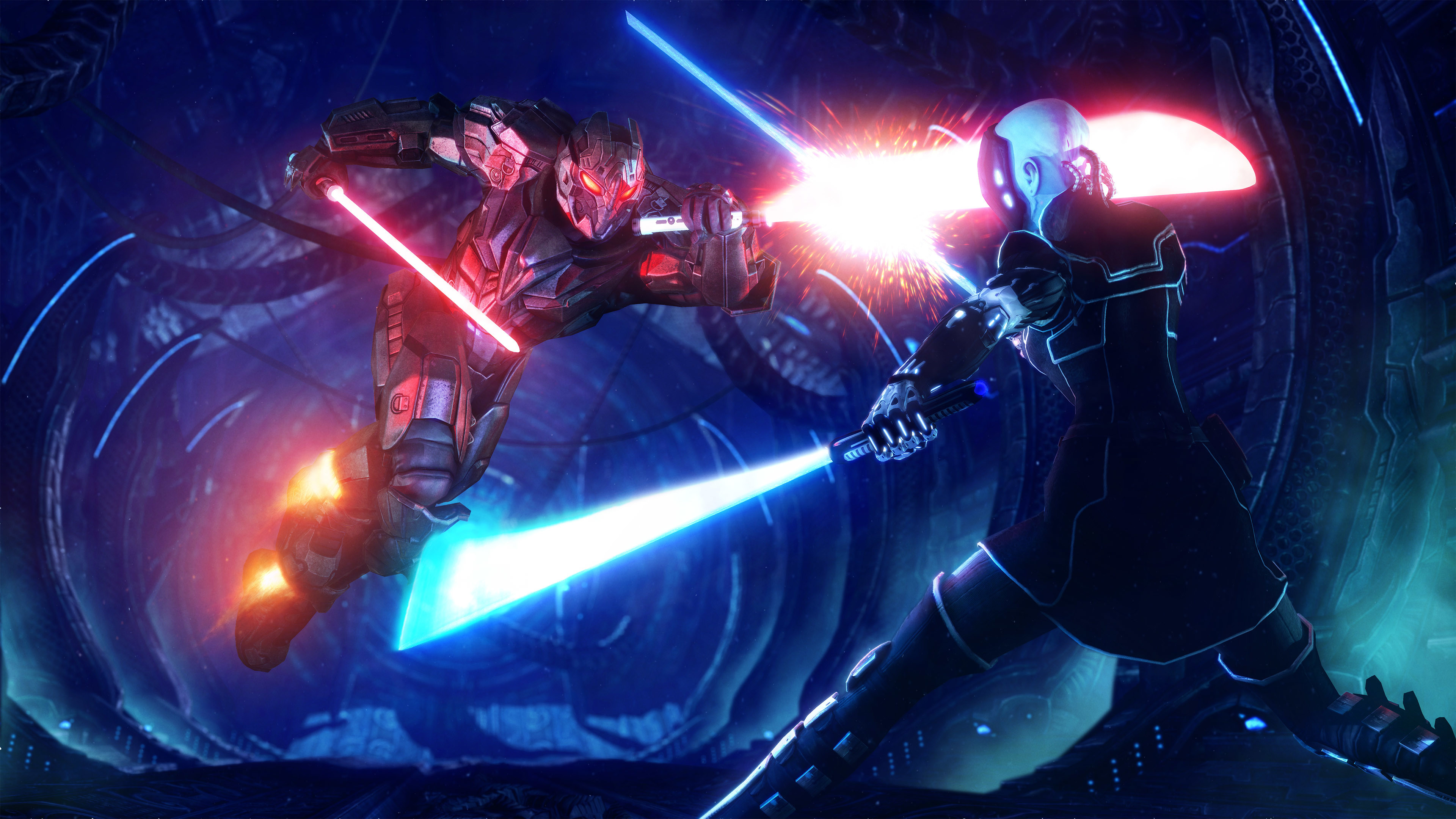 Sci Fi Star Wars Wallpaper Lightsaber Fight 3840x2160 Wallpaper Teahub Io