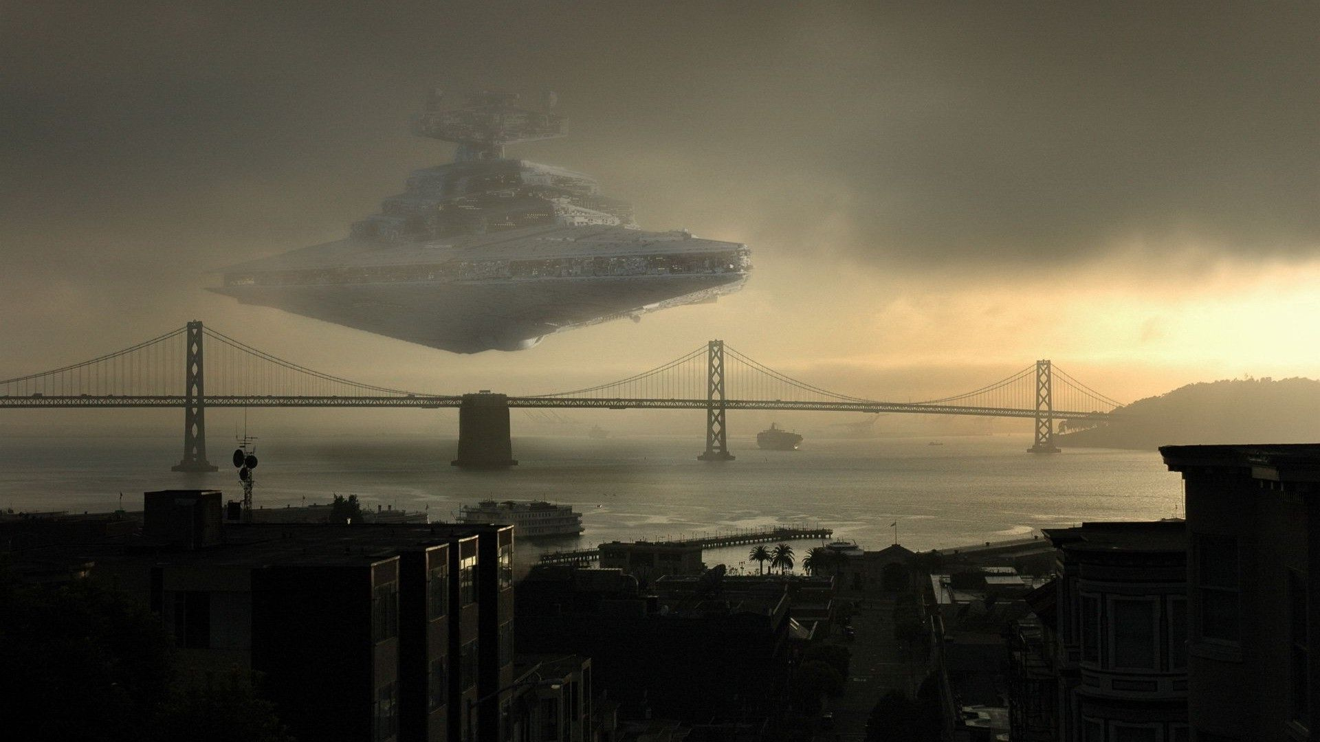 Spaceship Landscape Star Wars San Francisco Wallpapers Star Wars Wallpaper Landscape 1920x1080 Wallpaper Teahub Io