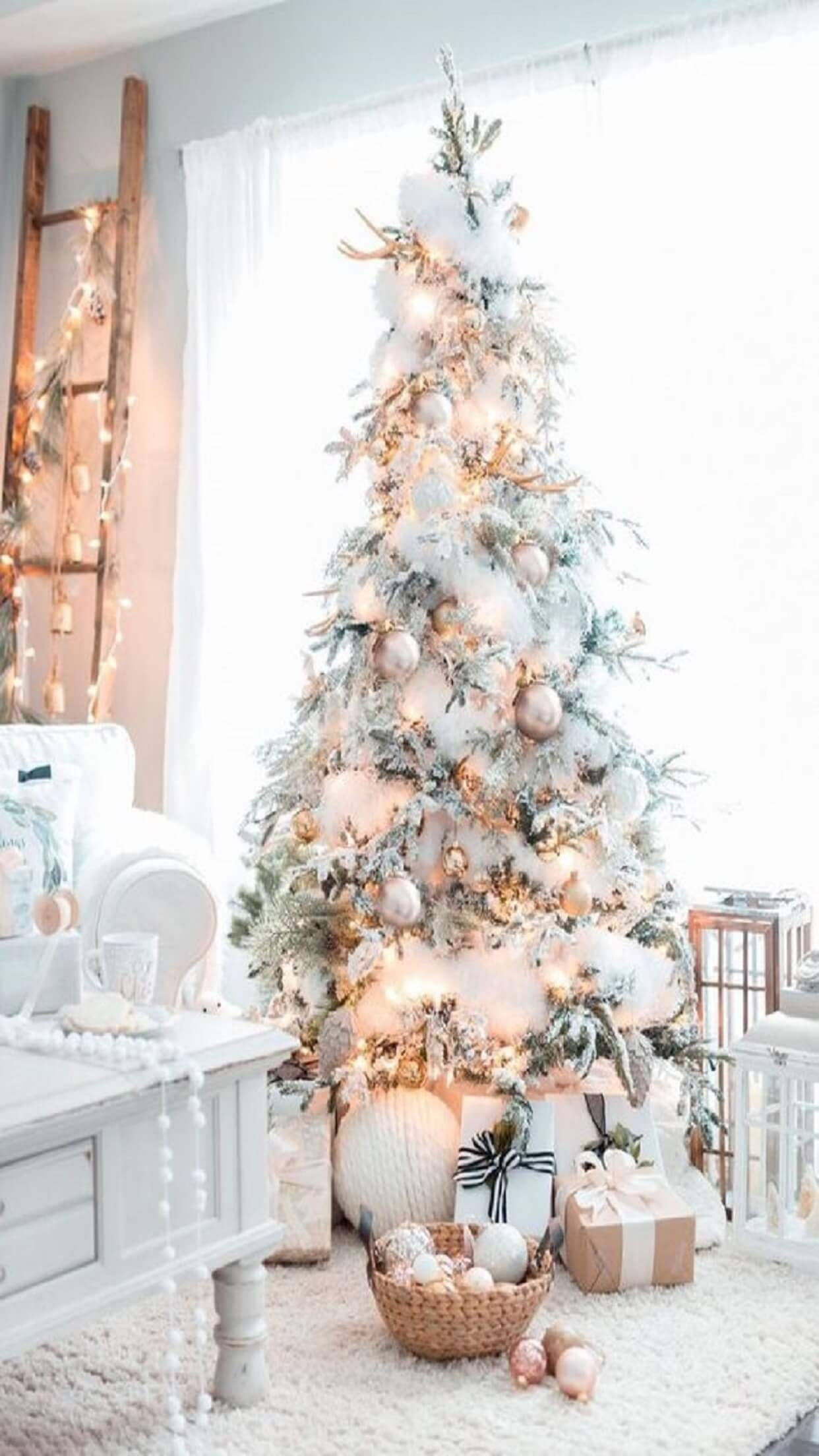 Iphone Wallpaper Christmas Tree Snow Decoration Ideas 1242x2208 Wallpaper Teahub Io