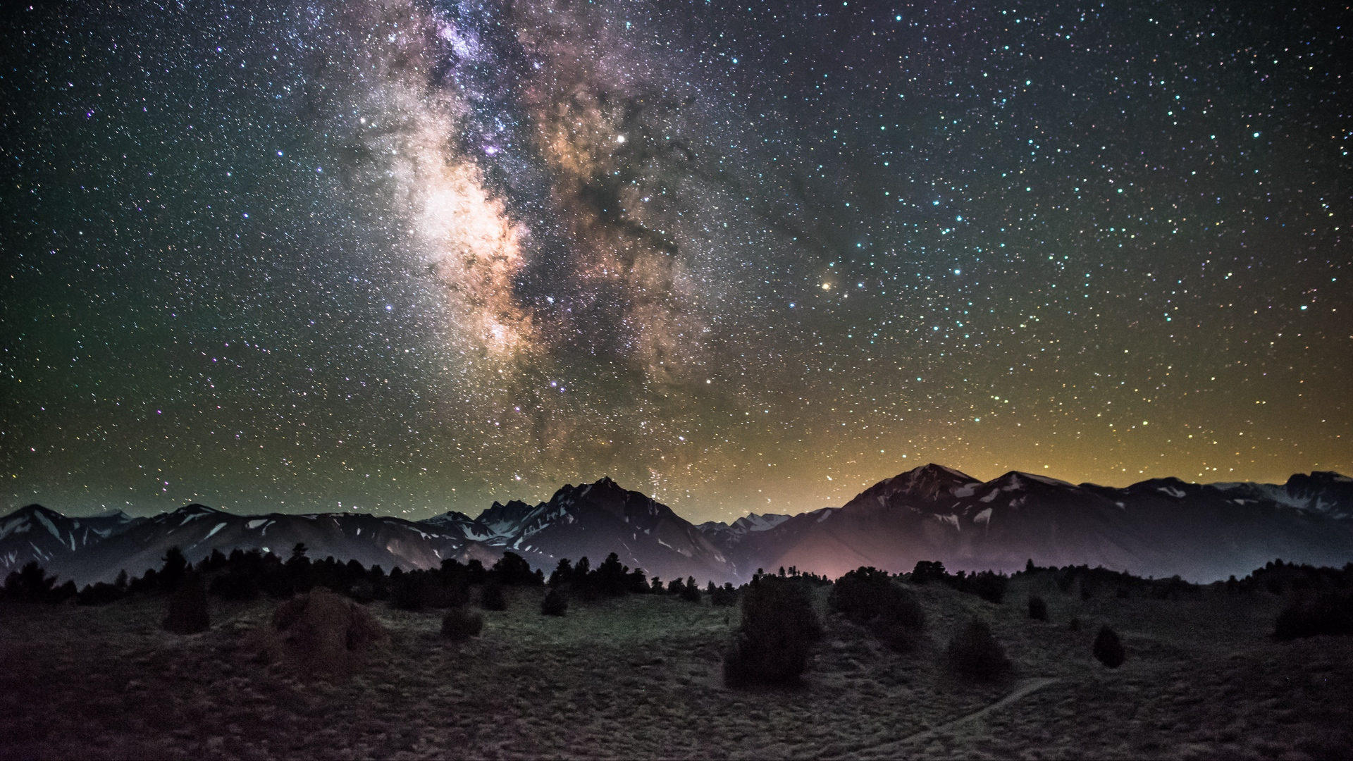Wallpaper Galaxy Night Starry Sky Mountains Galaxy Desktop Wallpaper 4k 1920x1080 Wallpaper Teahub Io
