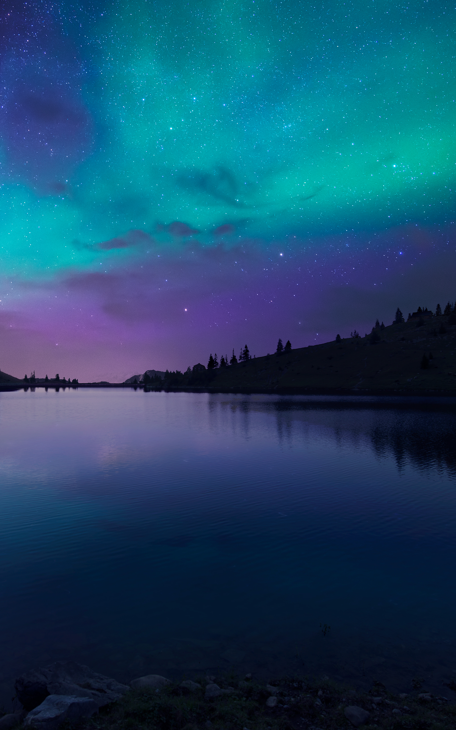 Night Fall At Lake Aurora Iphone 6 Plus Wallpaper - Nature Wallpaper Iphone - HD Wallpaper