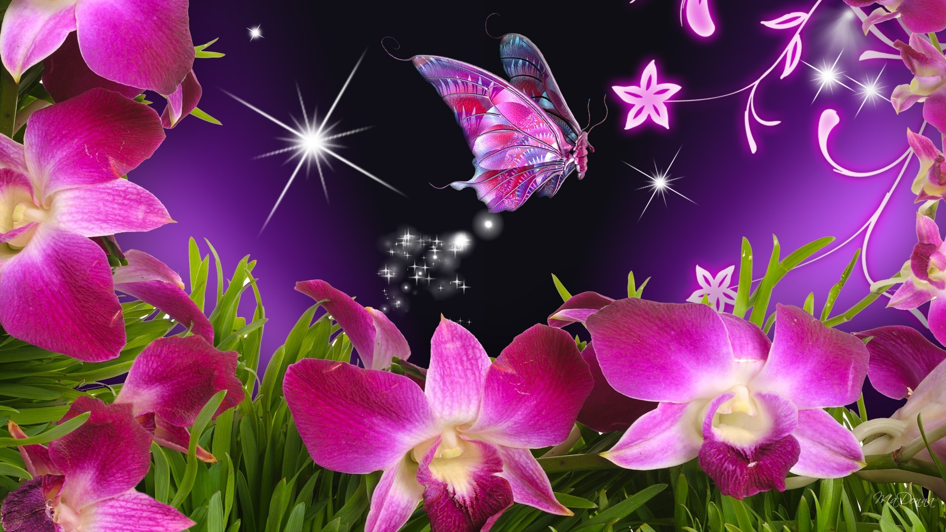 Flowers For > Beautiful Flowers And Butterflies Wallpapers - 3d Butterfly With Flower - HD Wallpaper