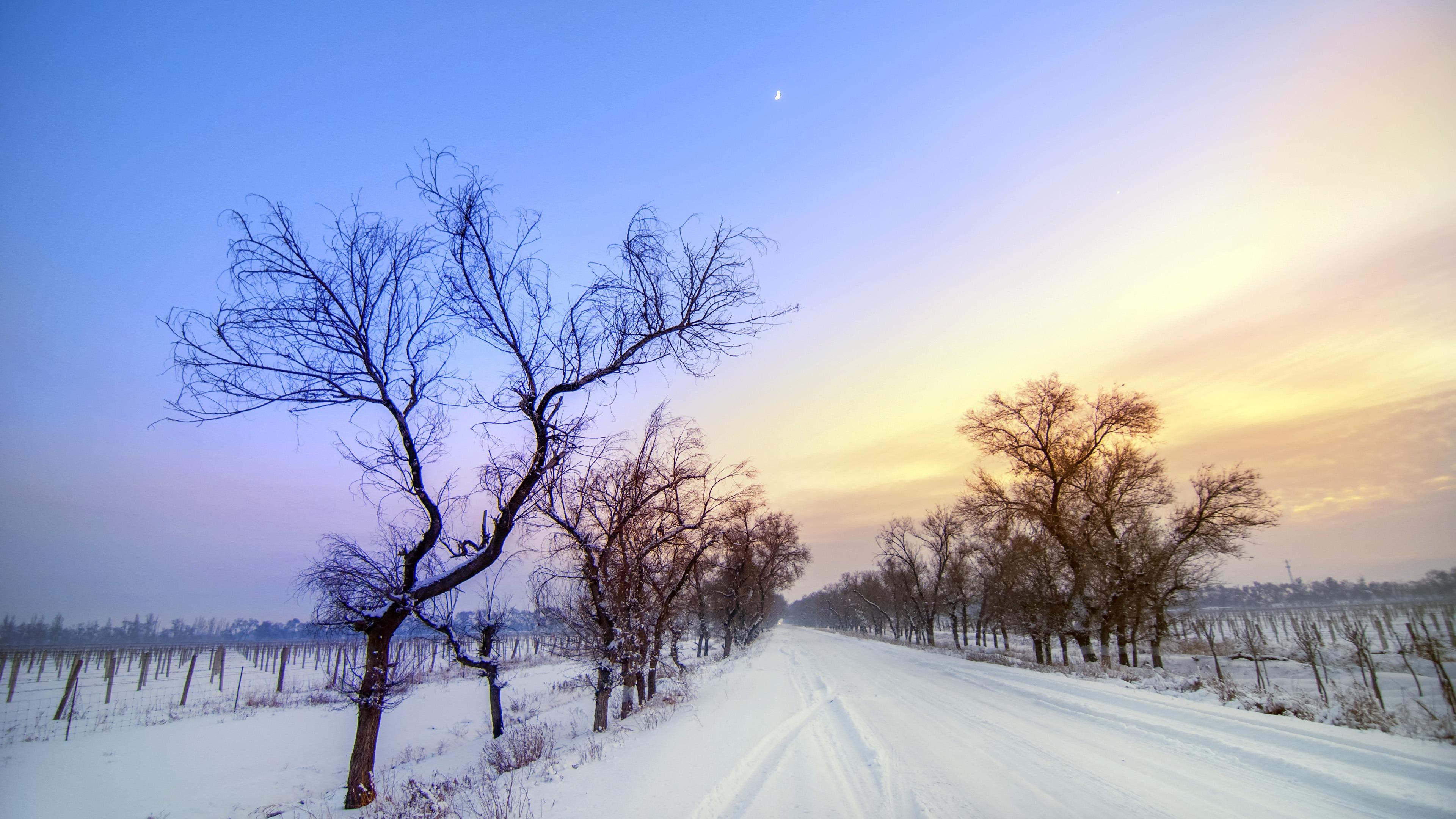 Winter Snow Road Sunset Scenery Wallpaper Nature 3840x2160 Wallpaper Teahub Io
