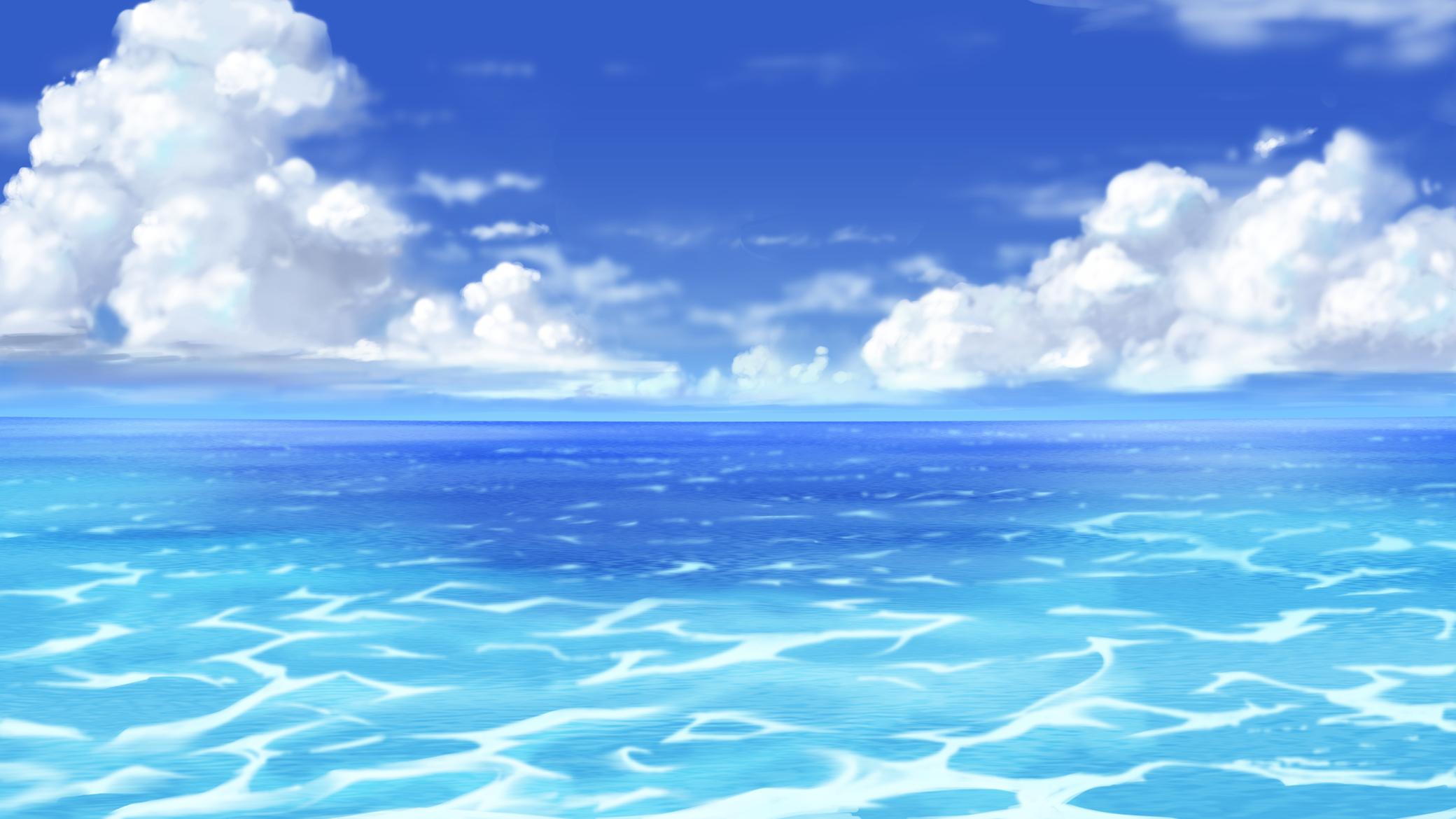 Anime Ocean Background - HD Wallpaper