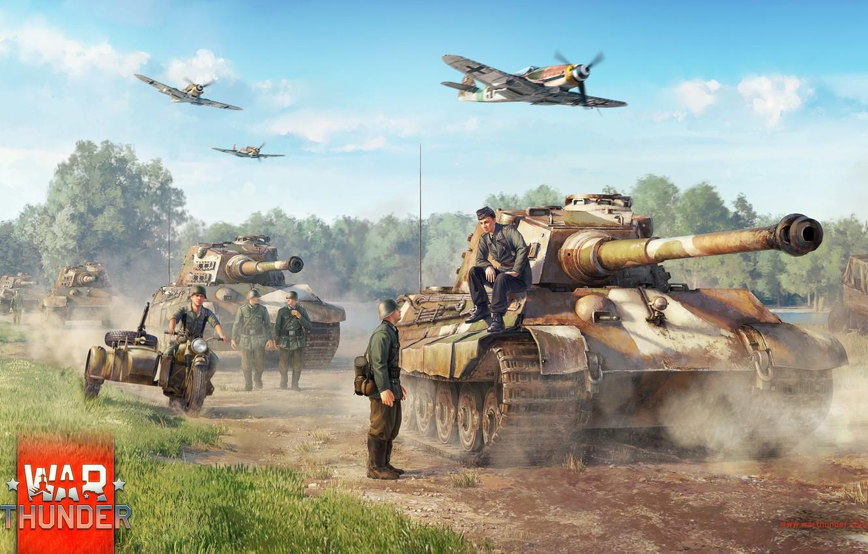 Photo Wallpaper Art, Bf-109, Tiger Ii, War Thunder, - War Thunder Sturmpanzer 2 - HD Wallpaper