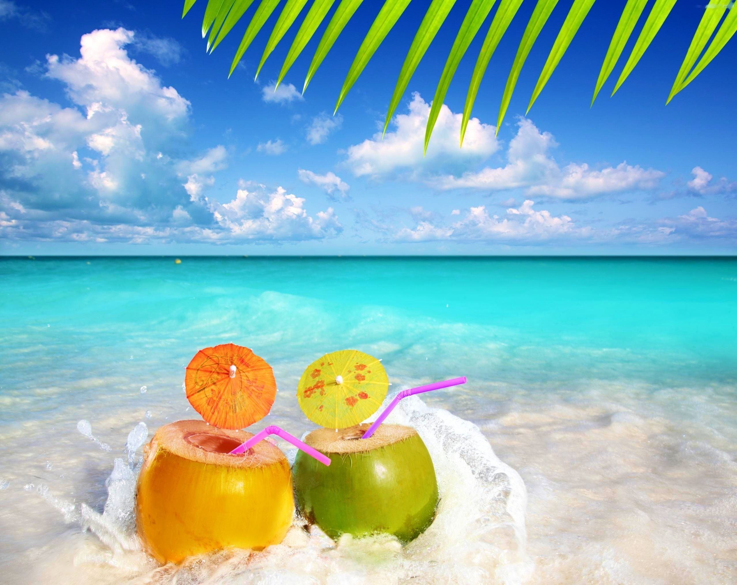 Fruit Water Snacks Sea Summer Palm Beach Wallpaper - Summer Beach Desktop Backgrounds - HD Wallpaper