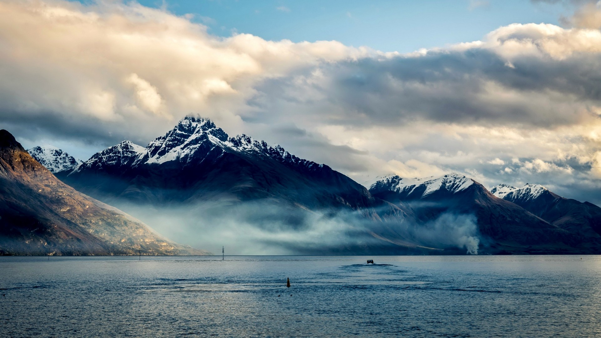 Wallpaper New Zealand, Sea, Mountains, Sky, Clouds - New Zealand Mountains And Sea - HD Wallpaper