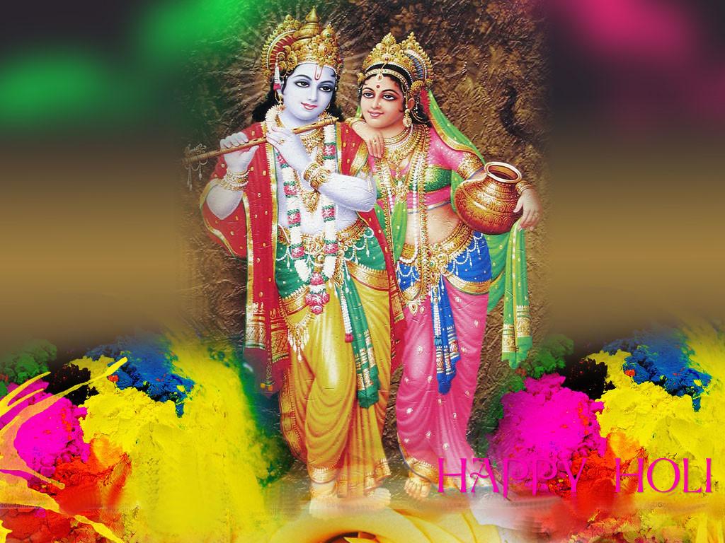 Lord Radha Krishna Awesome Holi Wallpaper In Hd - Happy Holi Radha Krishna - HD Wallpaper
