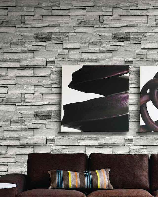 Brick Wallpaper 3d Stone - Living Room Wall Blocks Design - HD Wallpaper