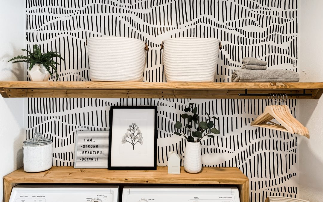 Modern Laundry Room Refresh With Hand Drawn Wallpaper Painted Accent Wall Ideas 1080x675 Wallpaper Teahub Io