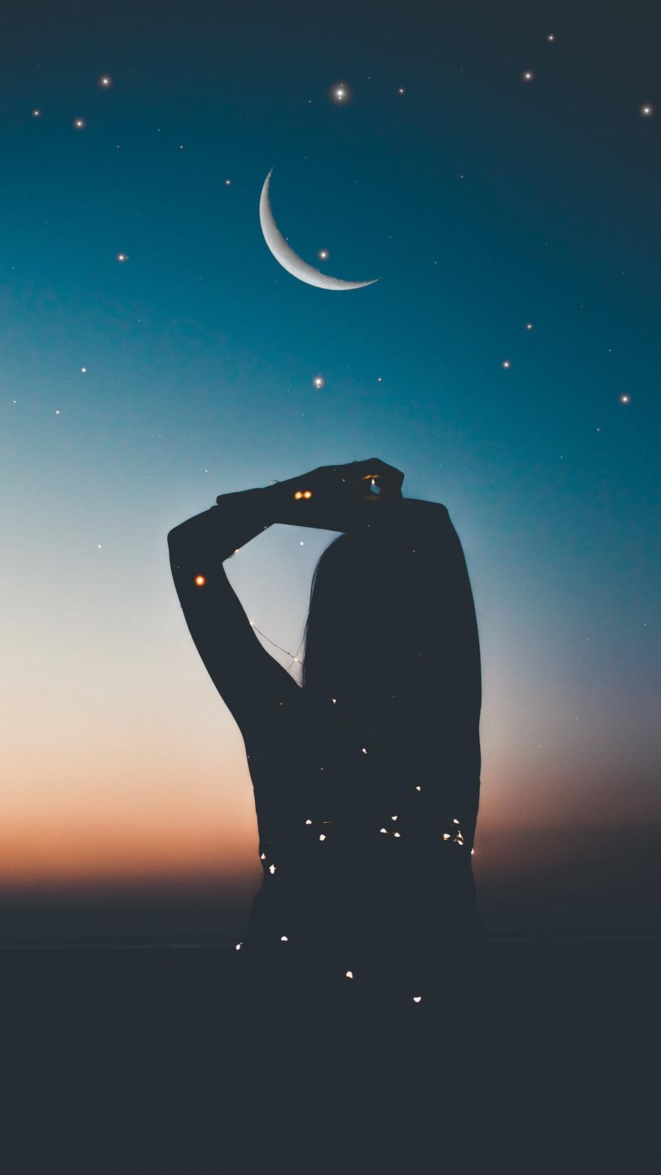Wallpaper Silhouette Starry Sky Stars Moon Night Night Sky Stars Moon 938x1668 Wallpaper Teahub Io