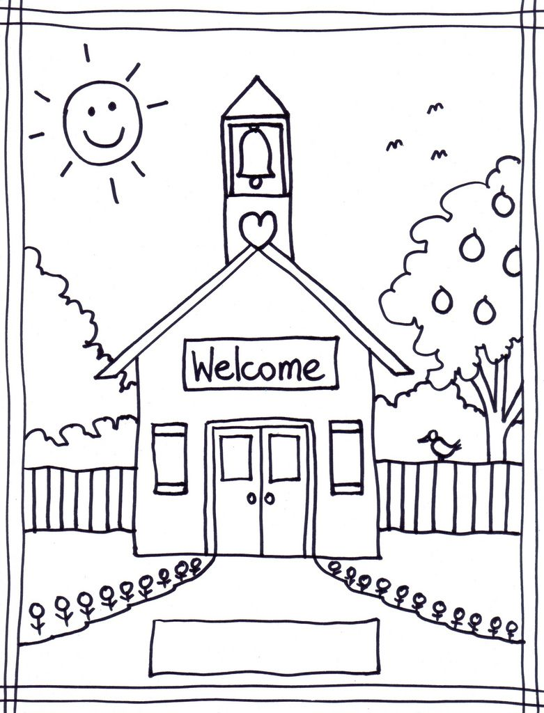 School House Coloring Page - HD Wallpaper