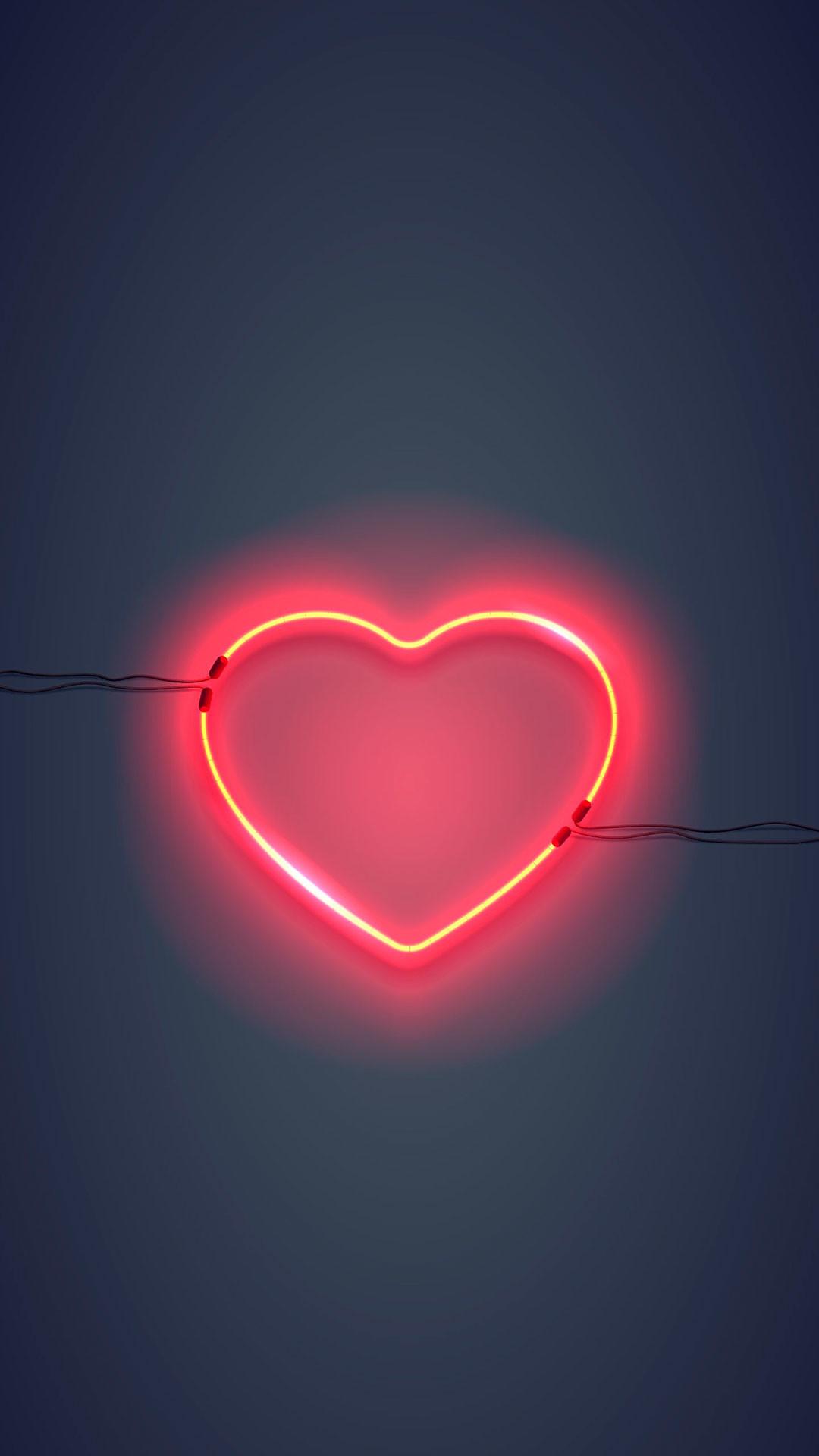 Iphone Wallpaper Neon Sign Heart Neon Sign - Neon Lights - HD Wallpaper