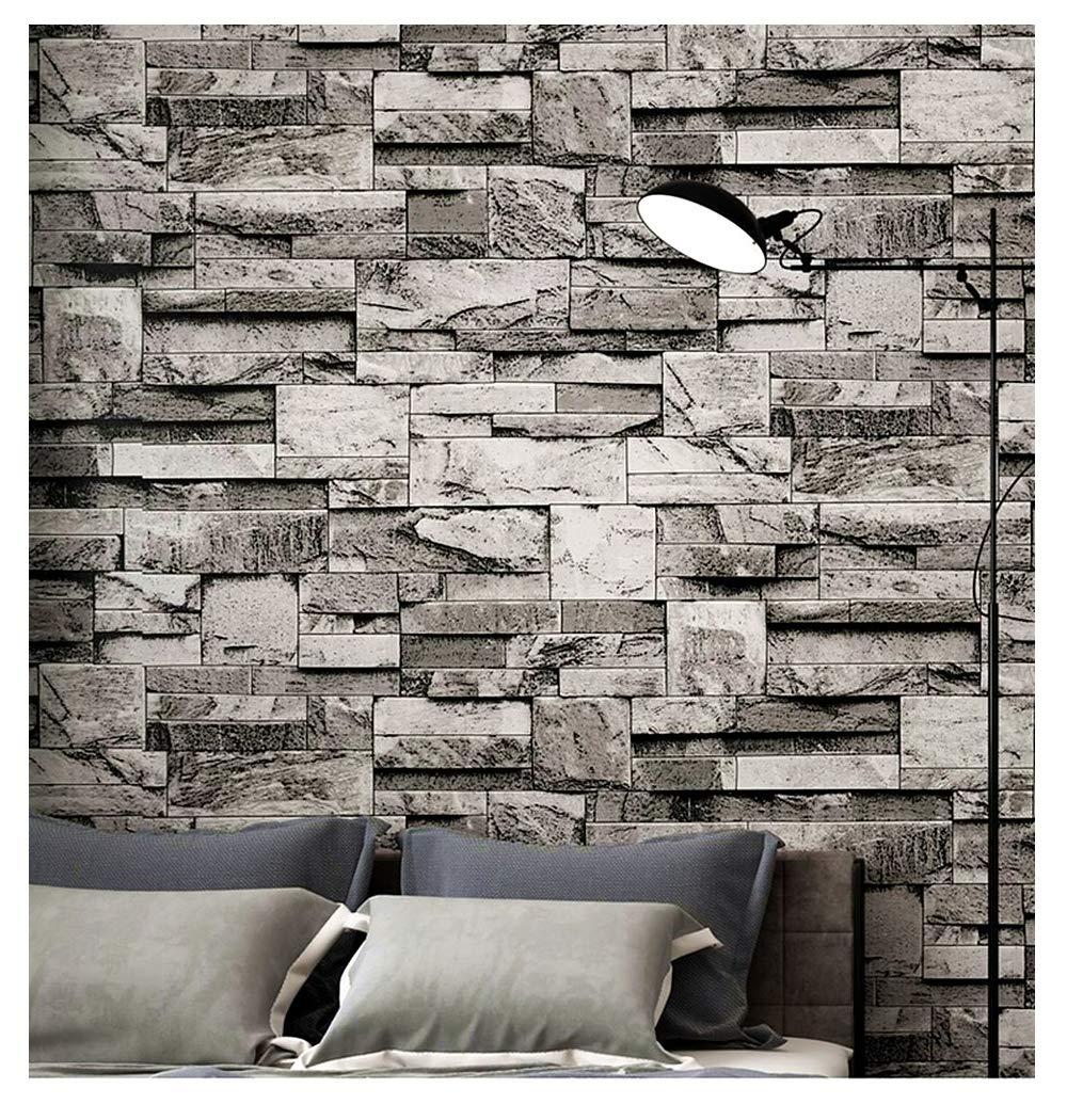 Blooming Wall 3d Faux Stone Brick Wall Mural Wallpaper - Living Room Brick Wallpaper Grey - HD Wallpaper