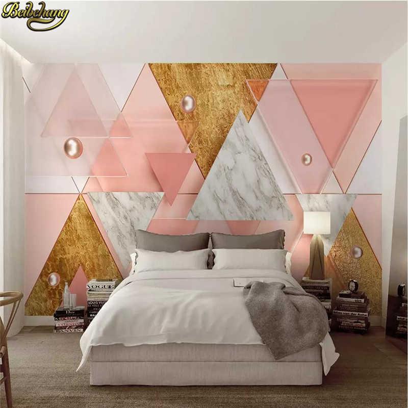 Beibehang Custom Luxury Pink Triangle Modern Geometric - Modern 3d Bedroom Design - HD Wallpaper