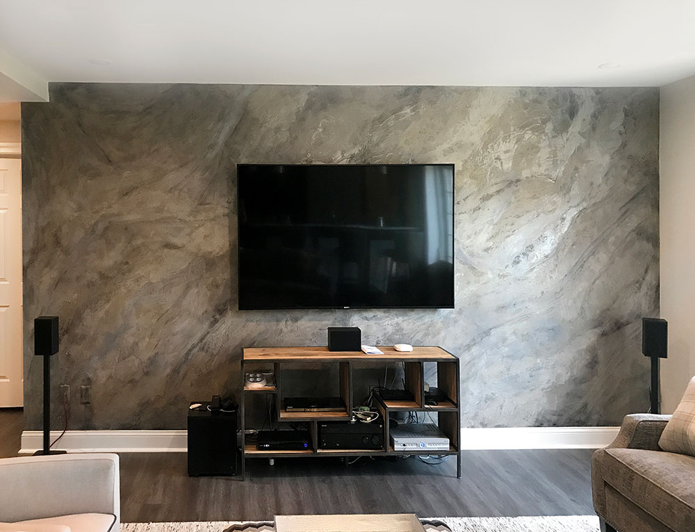 Media Feature Wall Created With Modern Masters Shimmerstone, - Modern Accent Wall Living Room - HD Wallpaper