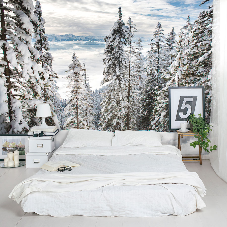 Alps Winter Forest Wall Mural - White Brick Wall Room - HD Wallpaper