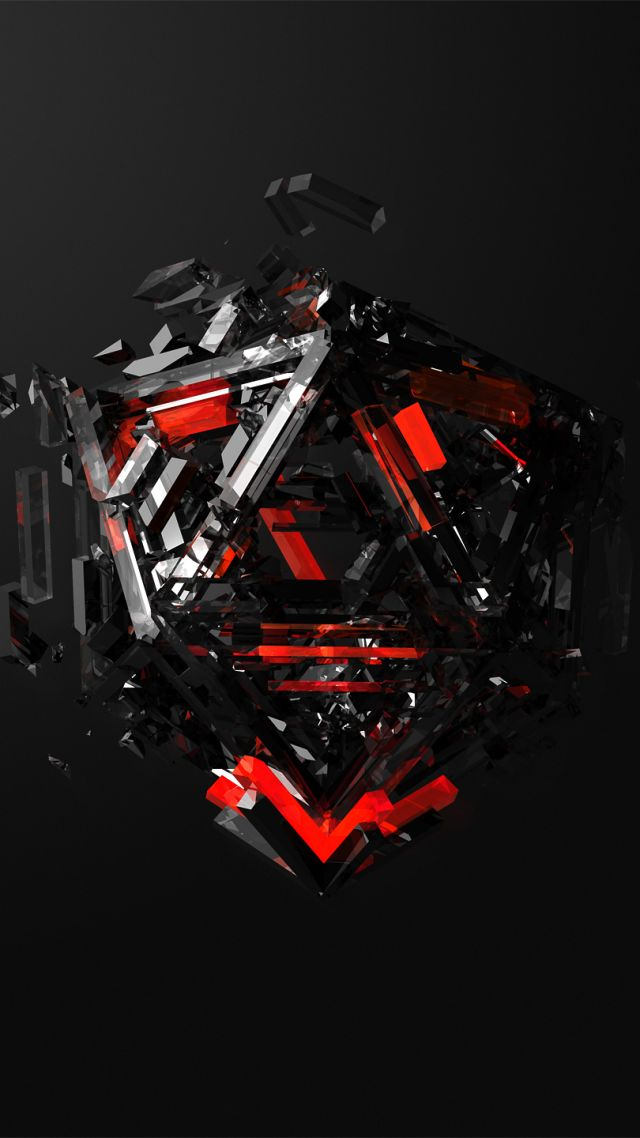Triangles 3d Red Black Hd Gaming Wallpaper Phone 4k 640x1138 Wallpaper Teahub Io