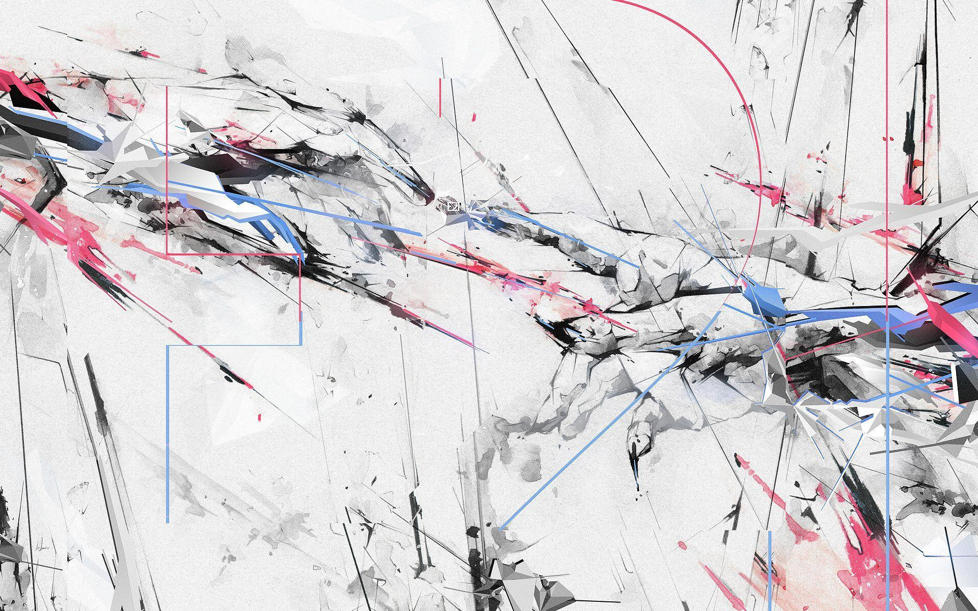 Abstract Paint Color Lines Spray Blue Pink Black Wallpaper - White Abstract Wallpaper 4k - HD Wallpaper