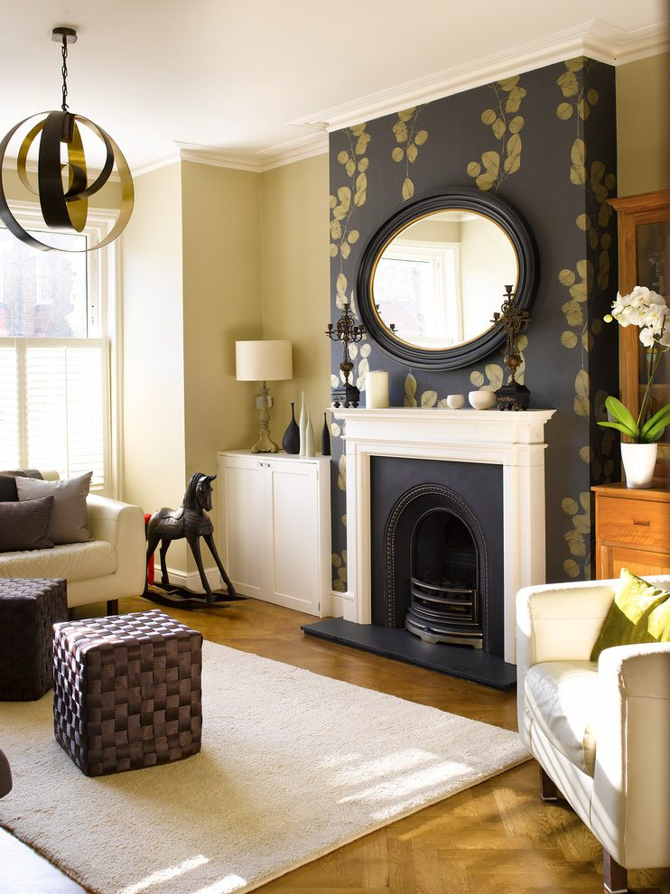 Fireplace Accent Wall Living Room Transitional With ...