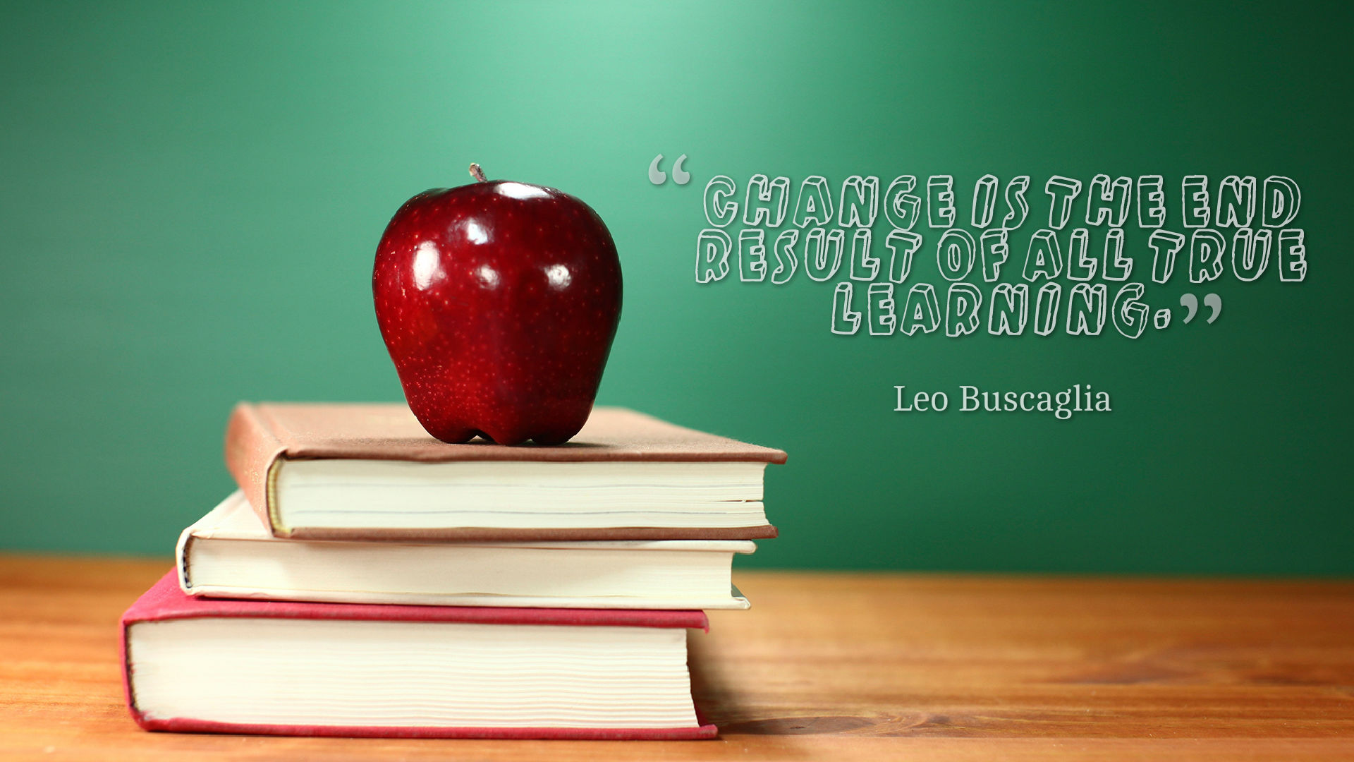 Learning Quotes Wallpaper - Shiny Apple For The Teacher - HD Wallpaper