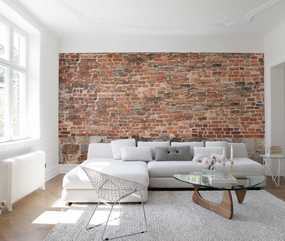Close Up Image Of The Old Brick Wall Wallpaper Mural - Living Room Brick Wall Interior Design - HD Wallpaper