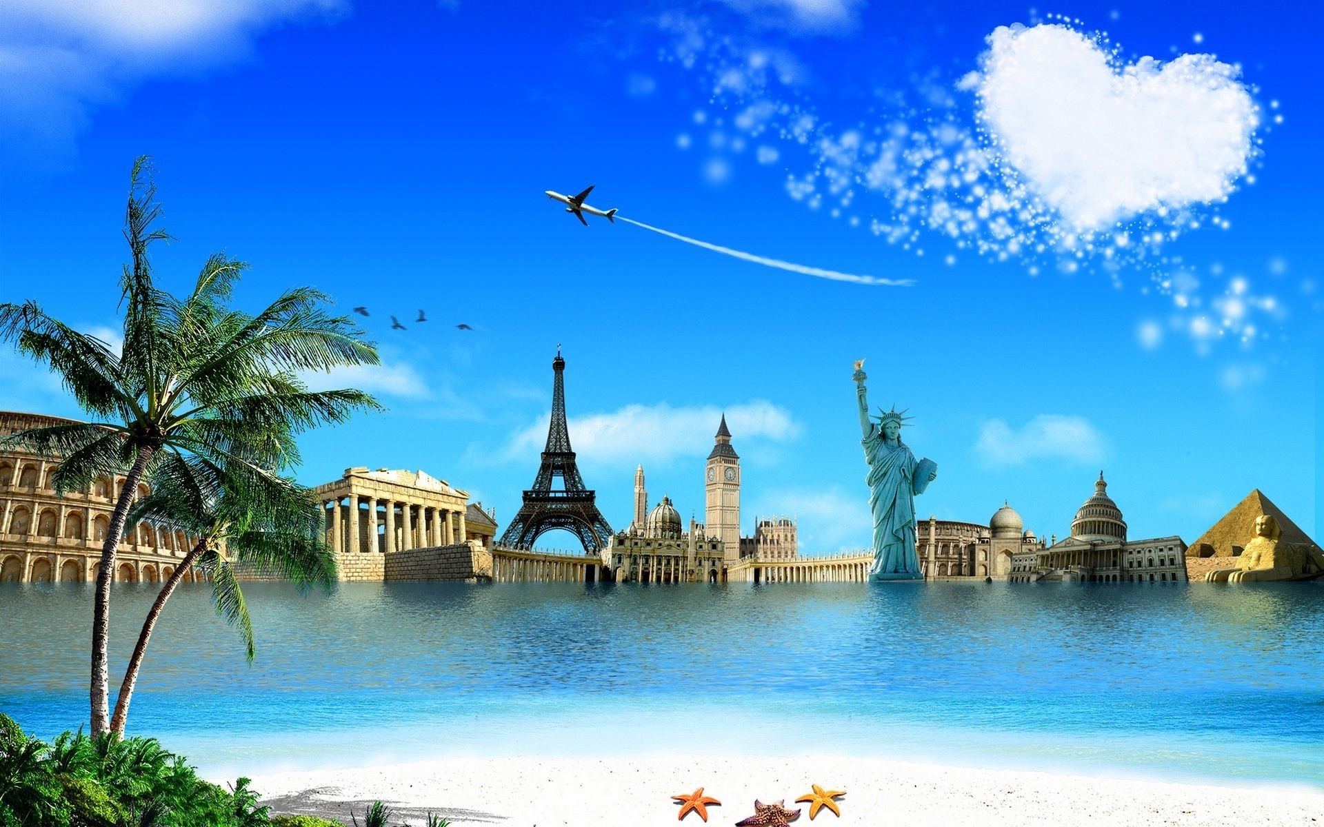 1920x1200, World All Wonders In One Wallpaper   Data - Seven Wonders Of The World Background - HD Wallpaper