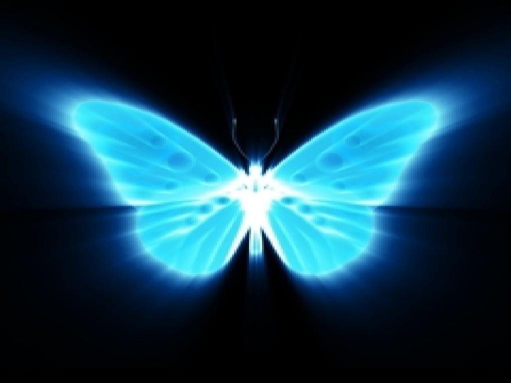 Blue Glowing Butterfly Png - HD Wallpaper