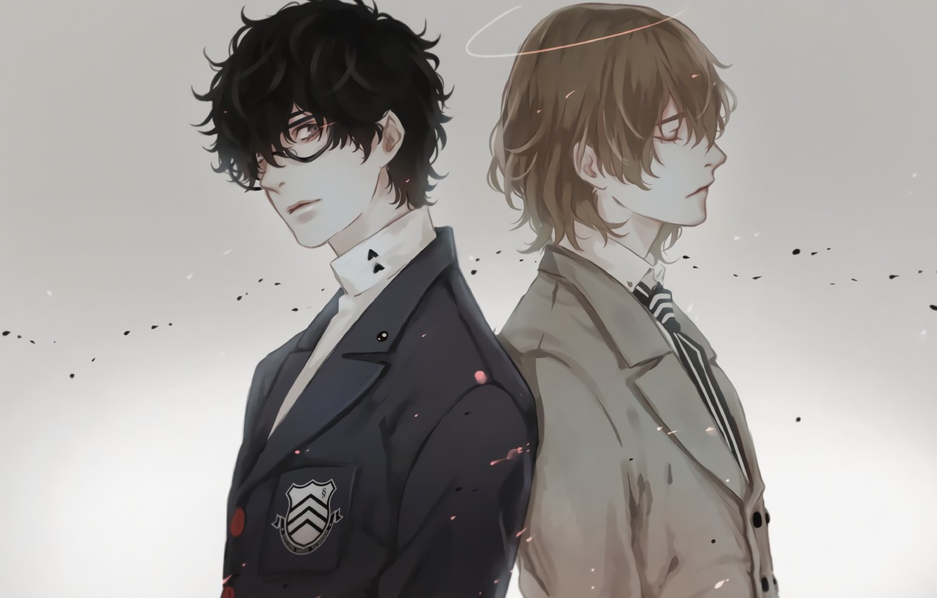 Photo Wallpaper Background, Guys, Two, Person 5, Persona - Guy With Black Hair And Glasses Anime - HD Wallpaper