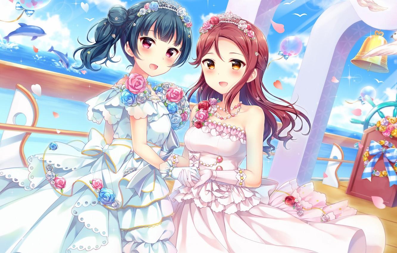 Photo Wallpaper Girls, Bride, Love Live School Idol - Anime Love Live Idol Bride - HD Wallpaper