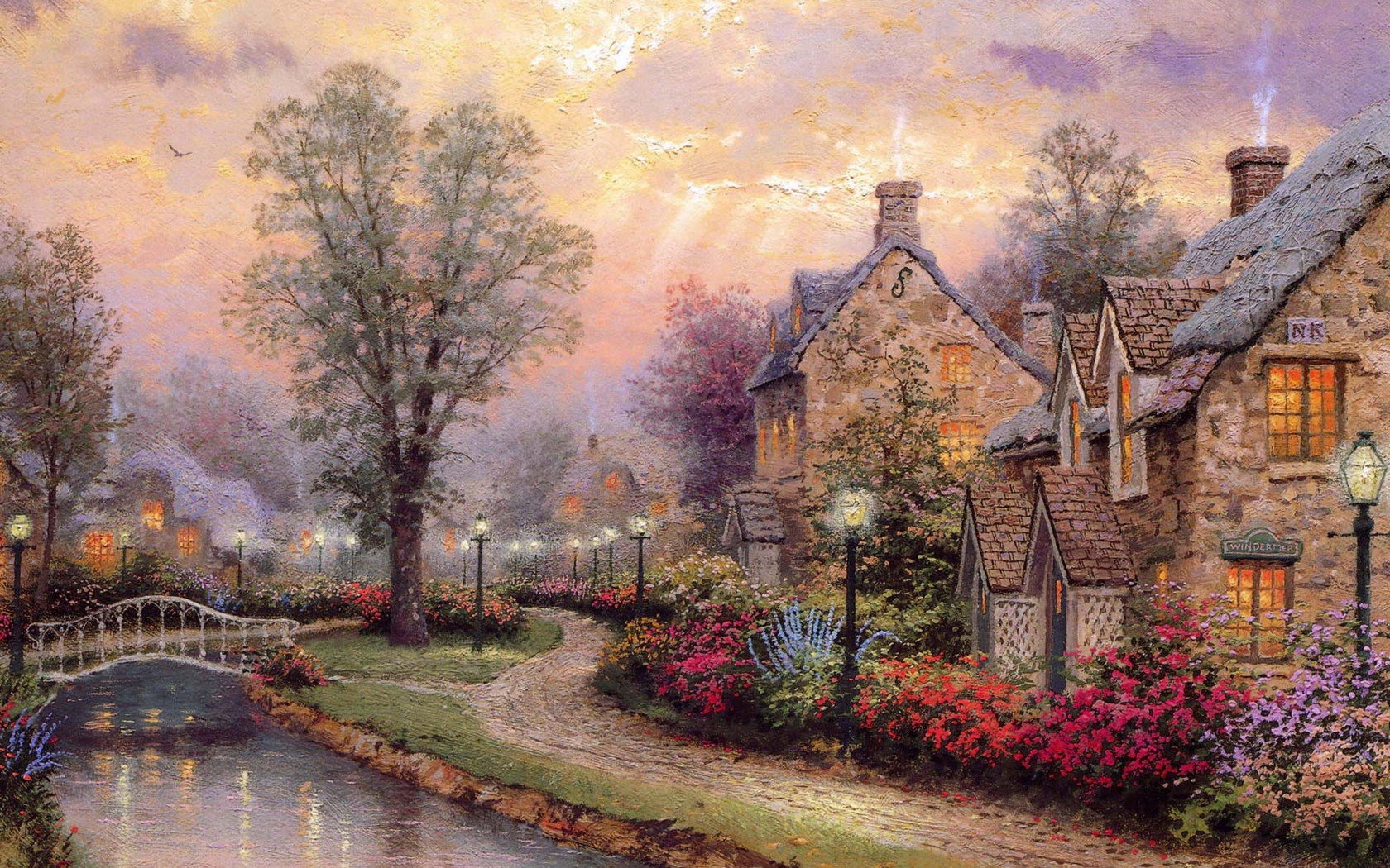 105 1057851 kinkade wallpaper oil paintings artistic oil painting desktop