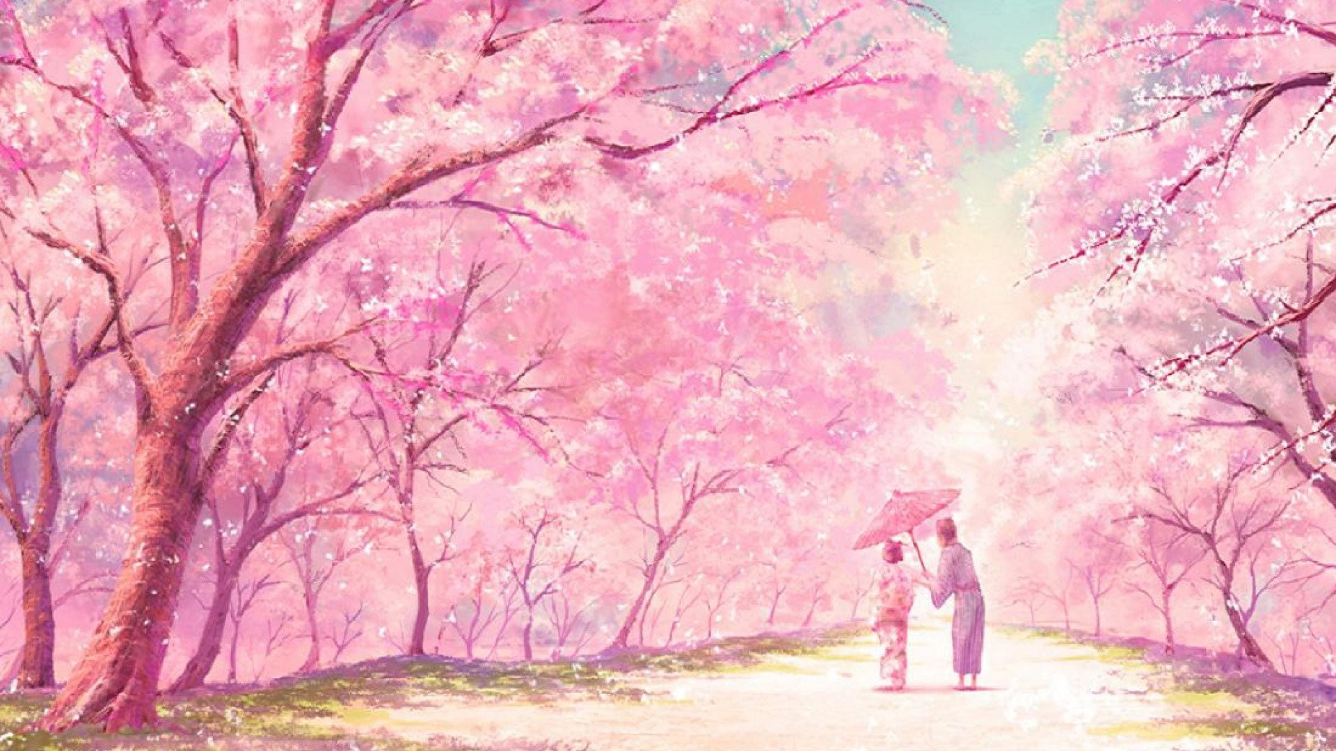 Girlish Hello Kitty Pink Cute Japan Cat   Data Src - Japanese Cherry Blossom Anime - HD Wallpaper
