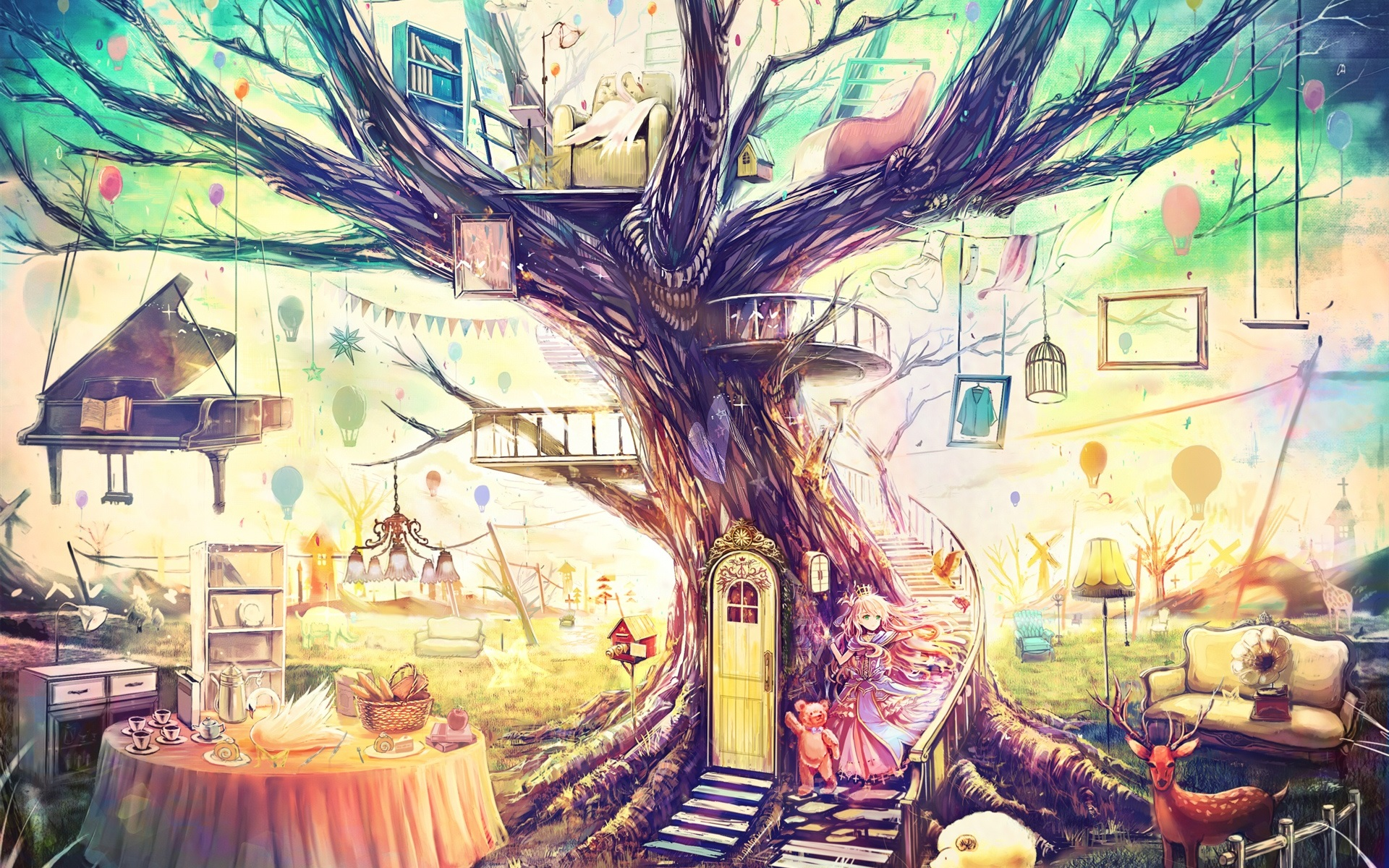 Wallpaper Beautiful Art Painting, Magical World, Fantasy - Anime Fantasy Tree - HD Wallpaper