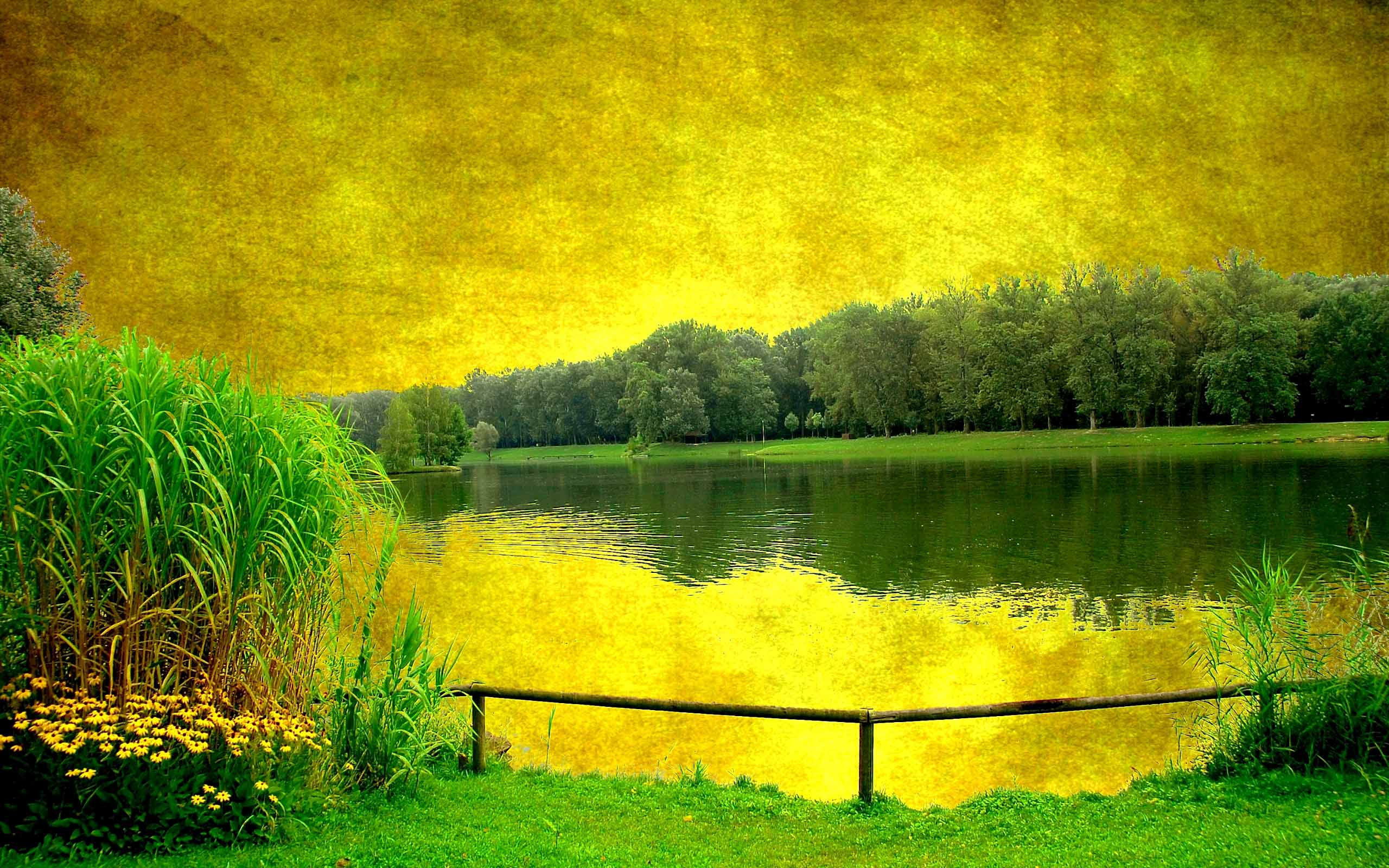 Nature Painting Wallpaper - Yellow And Green Paintings - HD Wallpaper
