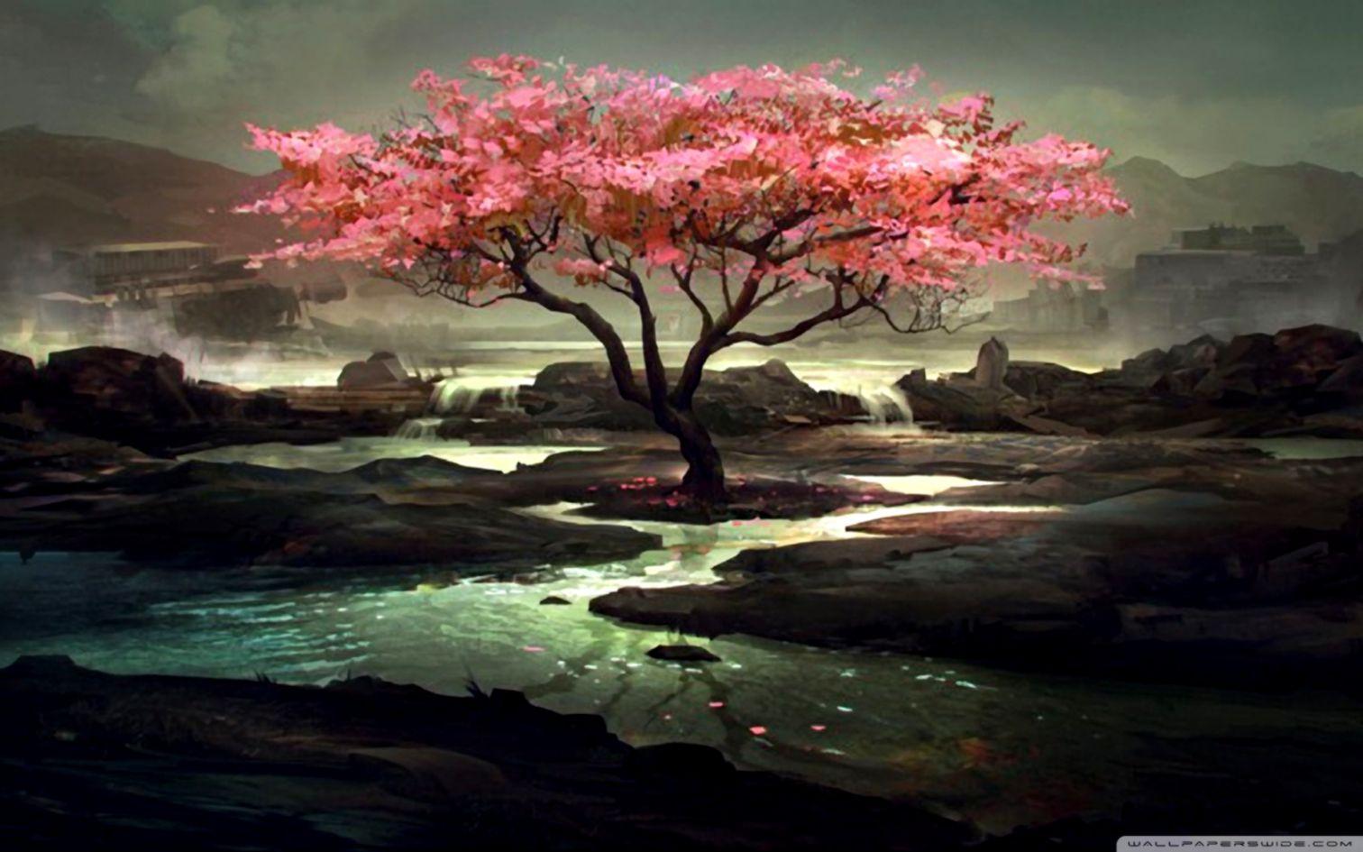 Blossom Tree Painting ❤ 4k Hd Desktop Wallpaper For - Pinturas De Arbol De Cerezo - HD Wallpaper
