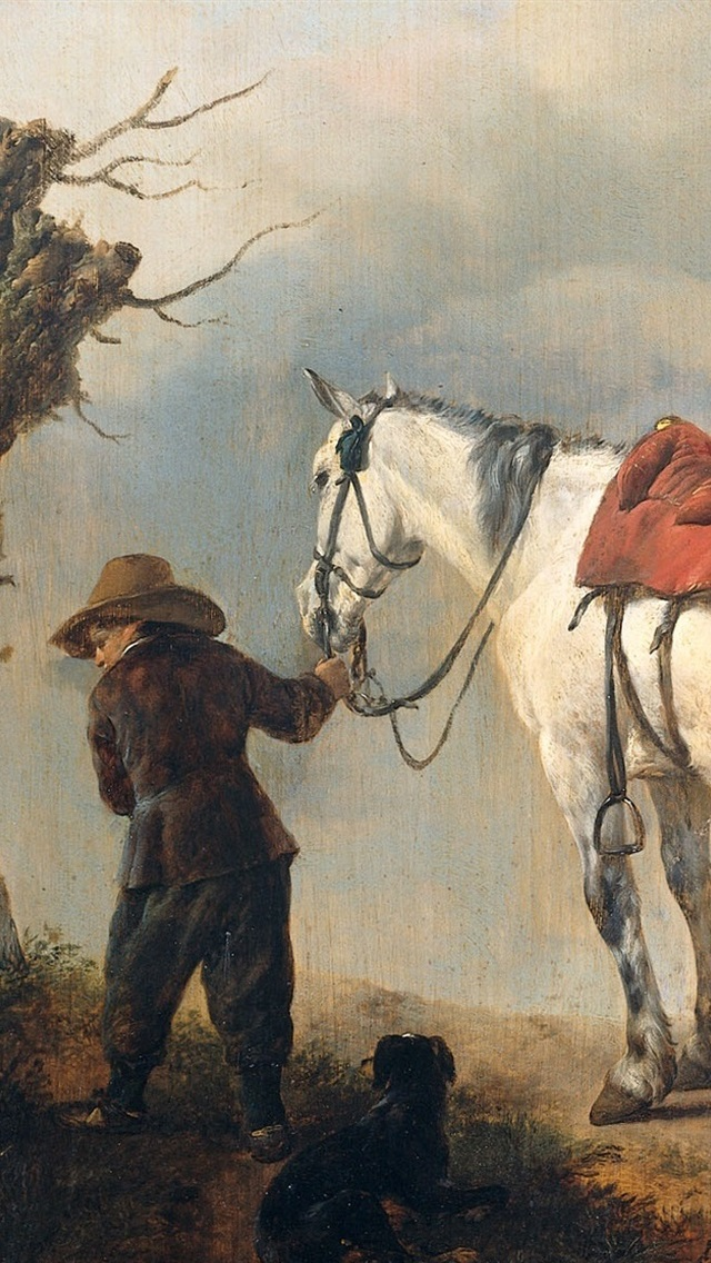 Iphone Wallpaper White Horse Oil Painting Public Domain Western Paintings 640x1136 Wallpaper Teahub Io