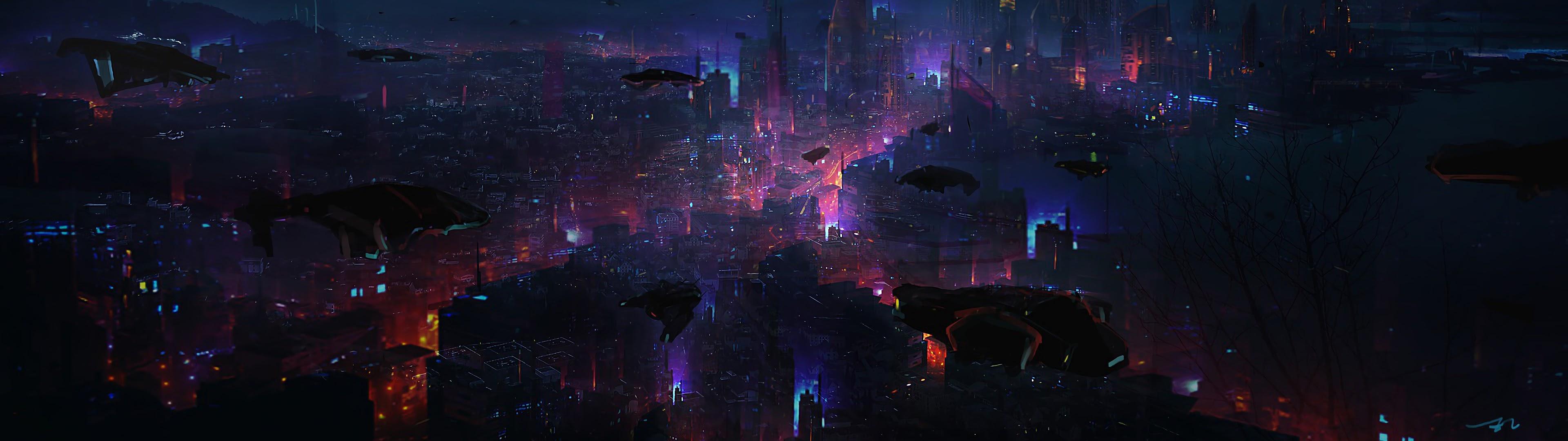 Cyberpunk, City, Night, Scenery, Sci-fi, 4k, - Cyberpunk Wallpaper Dual Monitor - HD Wallpaper