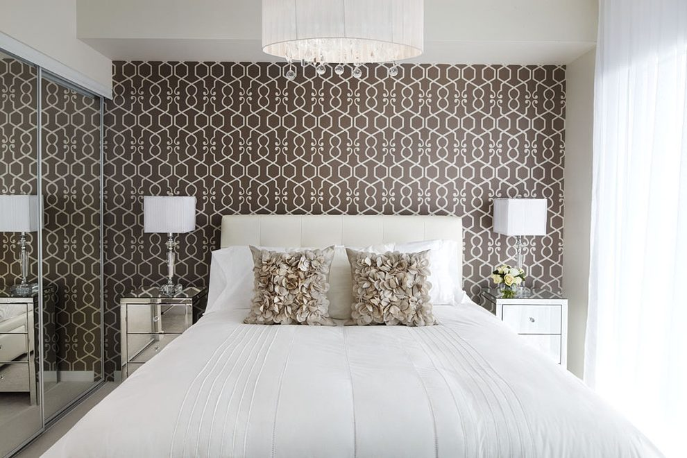 Pattern Wallpaper Bedroom Contemporary With Decoration - Modern Wallpaper Bedroom Accent Walls - HD Wallpaper