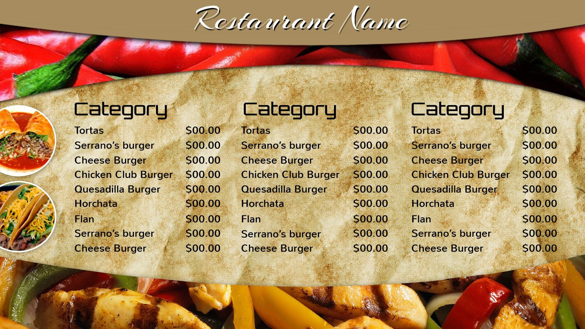 1920x1080, Mexican Restaurant Menu Designs Free Download - Chicago-style Hot Dog - HD Wallpaper