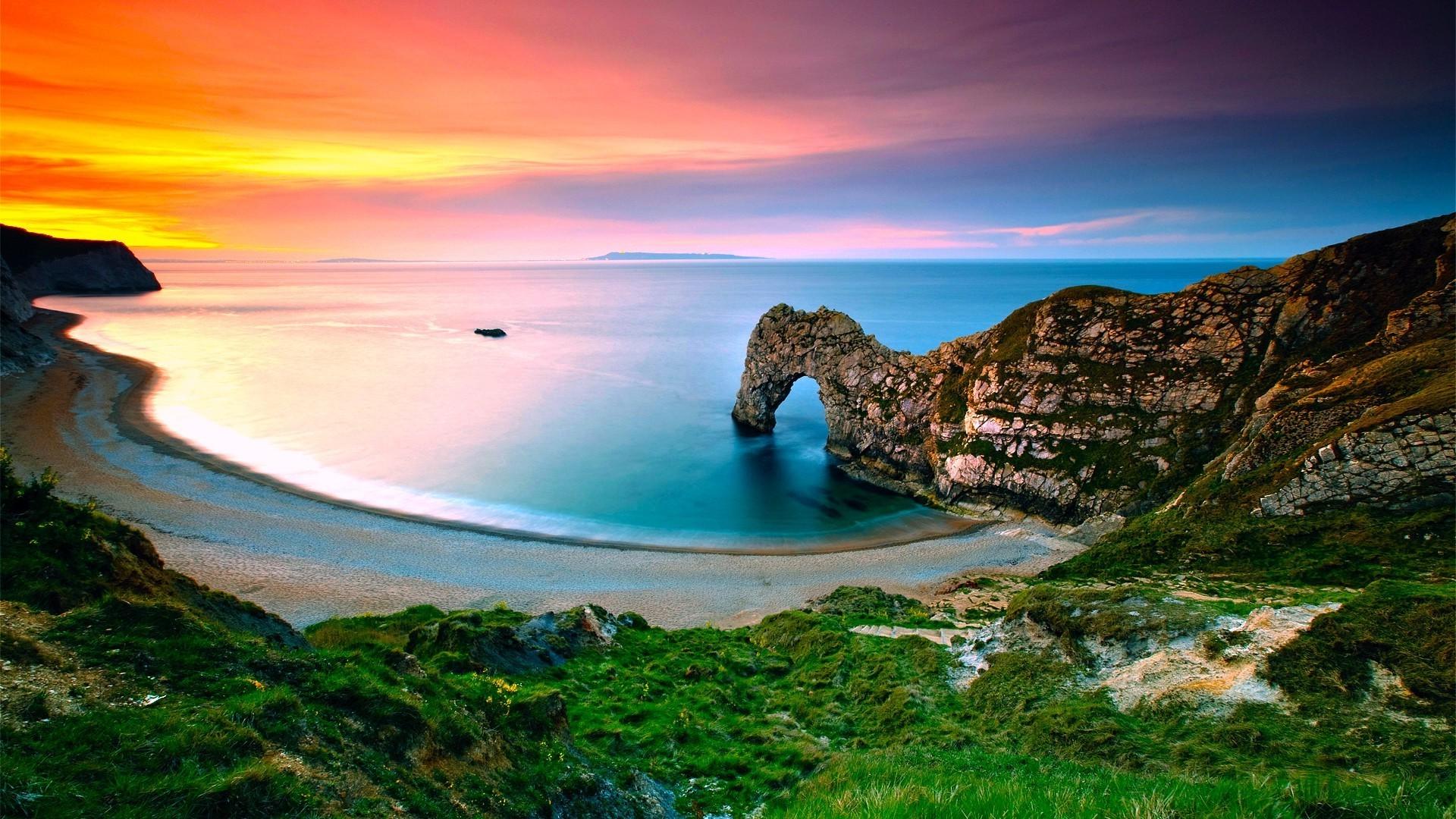 Beach Sunset Wallpaper With Cliff - HD Wallpaper