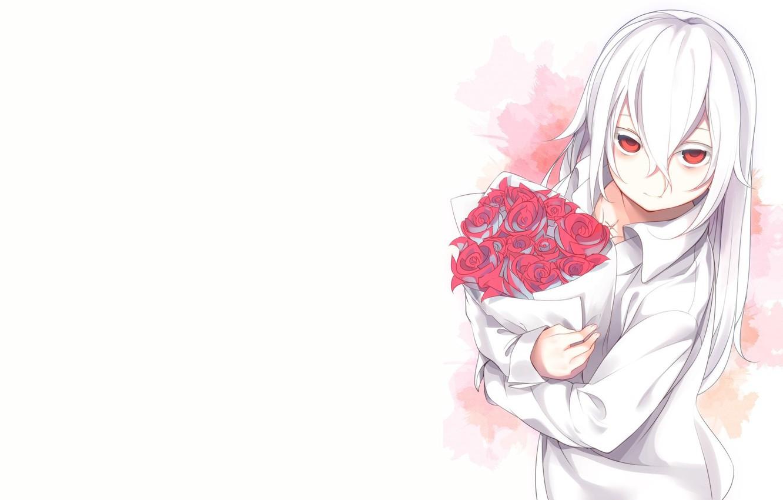 Photo Wallpaper Roses, Bouquet, Anime, Art, Guy, Albino - Anime Girl White Hair Red Eyes - HD Wallpaper