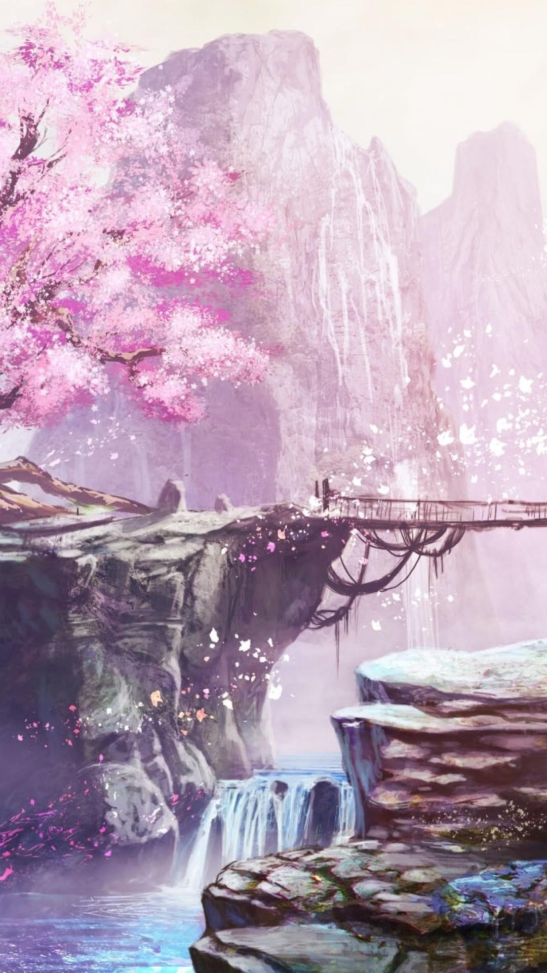 Anime Landscape, Cherry Blossom, Bridge, Waterfall, - Cherry Blossom Iphone Wallpaper Anime - HD Wallpaper