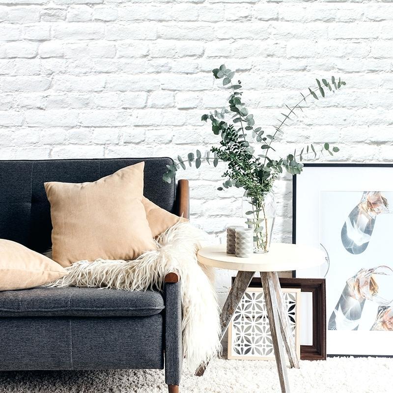 White Brick Feature Wall Wallpaper Bedroom - HD Wallpaper