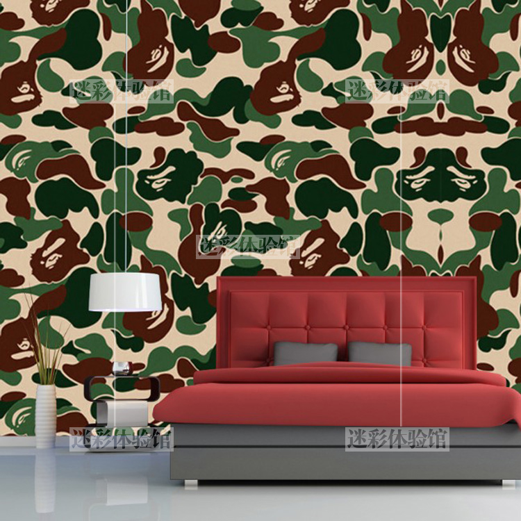 Bedroom Camouflage Printing Bape Wallpaper Restaurant - Bape Camo Iphone Background - HD Wallpaper