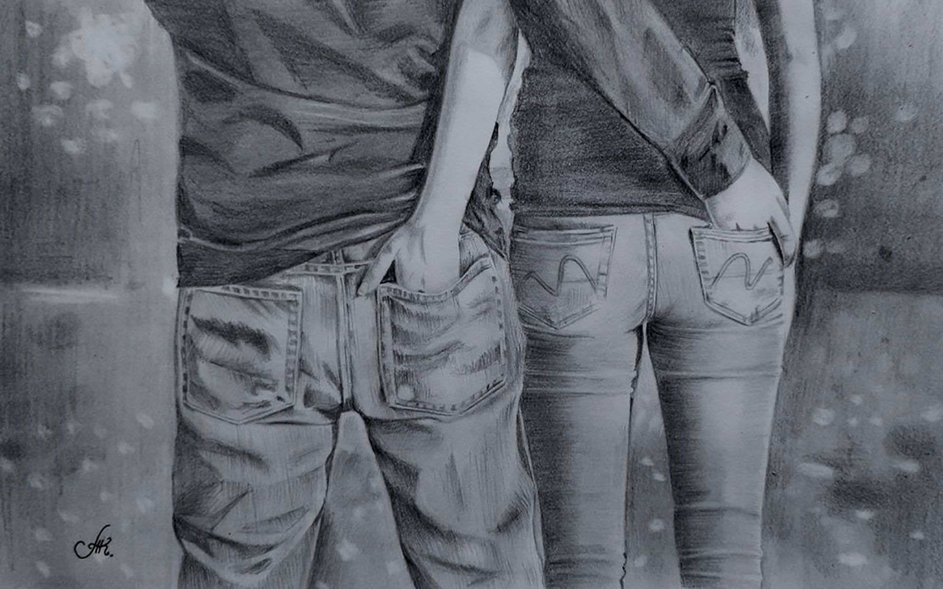 Cute Romantic Sketches Couple - HD Wallpaper