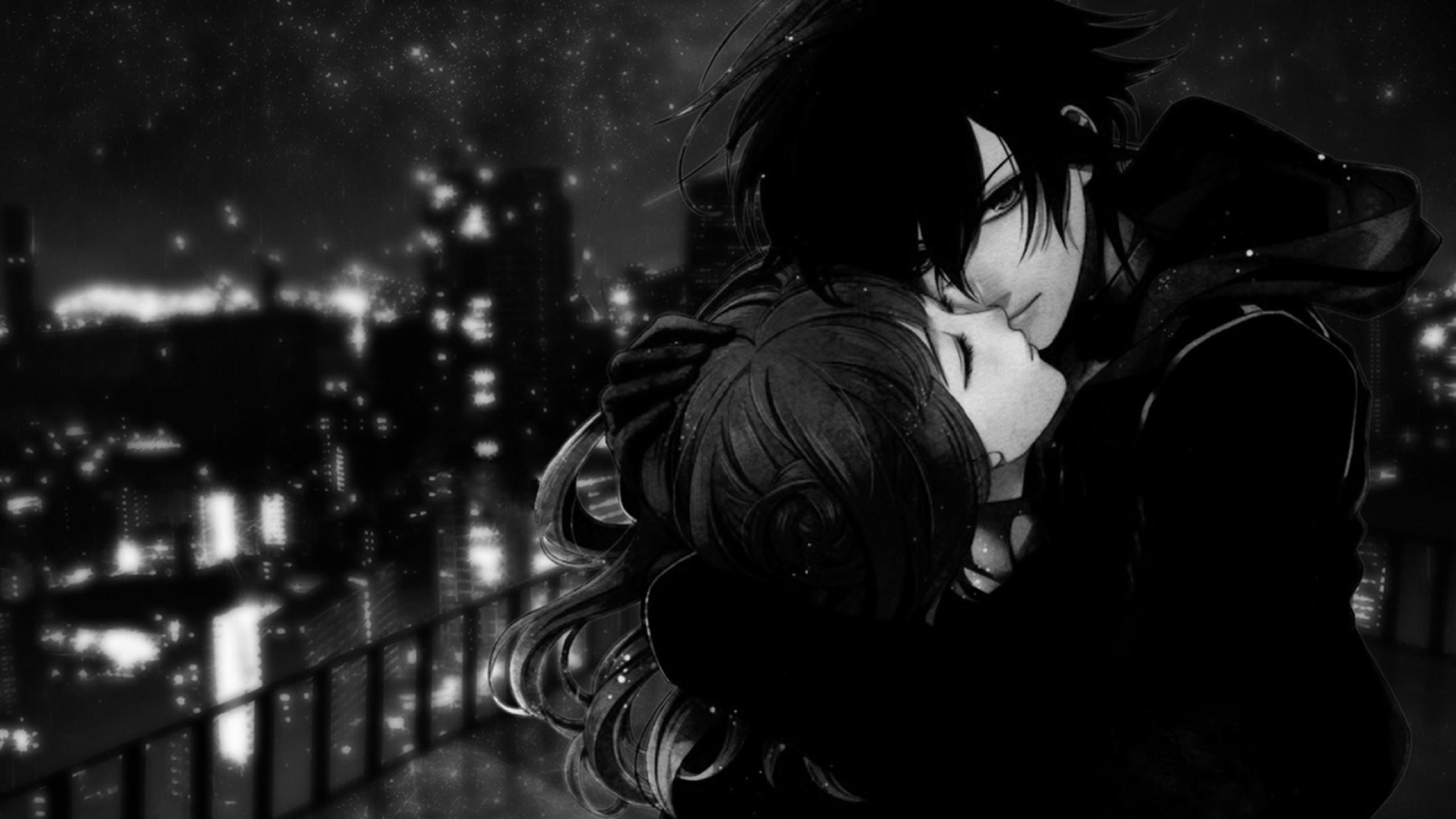 2560x1440, Black White Anime Love Picture 7454 Wallpaper - Anime Couple Wallpaper For Pc - HD Wallpaper