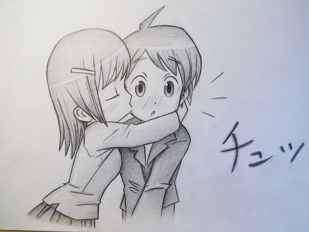 Boy And Girl Love Simple Sketch Simple Pencil Sketches - Boy And Girl Sketch - HD Wallpaper