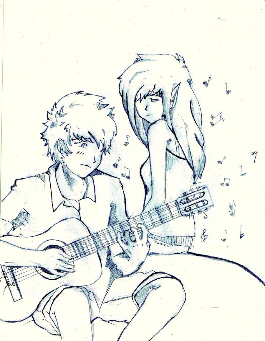 Boy Serenades The Girl By Jambaga - Sketch - HD Wallpaper