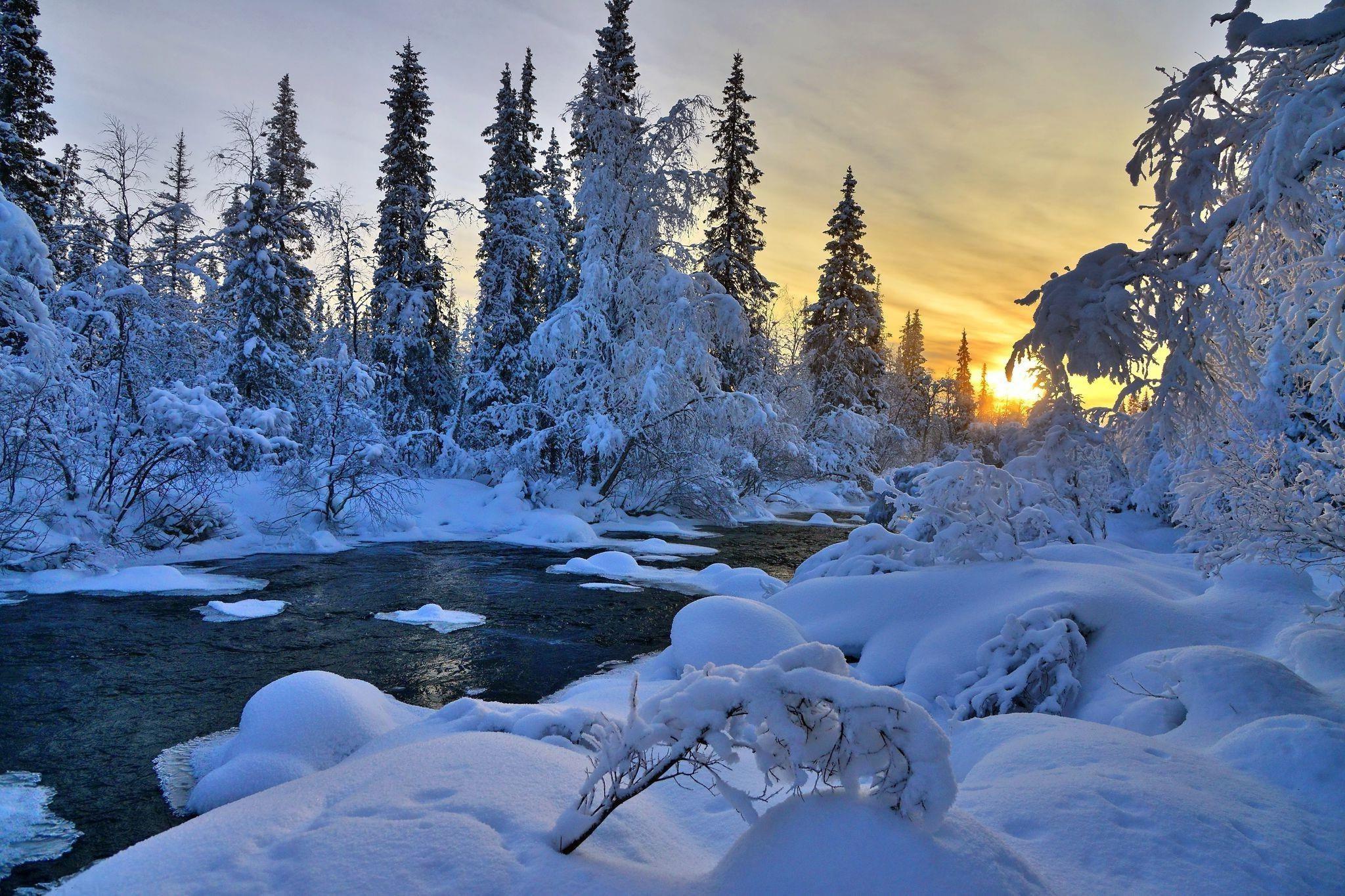 Winter River Nature Trees Landscape 1080p - Hd Winter Landscape Wallpapers 1080p - HD Wallpaper